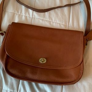 Vintage Brown Leather Coach Crossbody Shoulder Bag